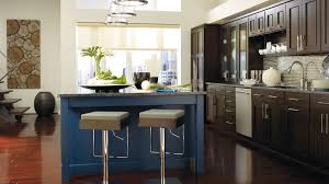 kitchen images gallery cabinet pictures omega dark wood metro cabinets in truffle finish with a blue lagoon kitchen island