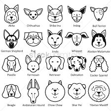 collection of dog faces vector image 1522758 stockunlimited