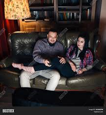 Couch Potato Tv Young And Guy Couple Addicted To Watch Tv Psychological