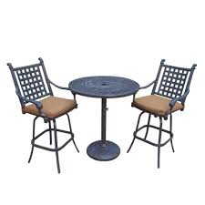 Patio Furniture Bar Height Set - hampton bay rehoboth 3 piece wicker outdoor bar height dining set