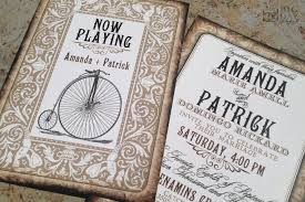 playing card themed wedding invitations vintage bicycle