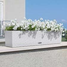 self watering planter lechuza white all in one balconera cottage self watering planter