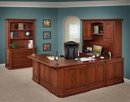 nice u shaped desk with hutch