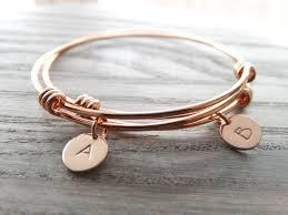 Gold Personalized Bracelets Set Of 2 Bangle Bracelets Personalized Jewelry Initial Bracelet