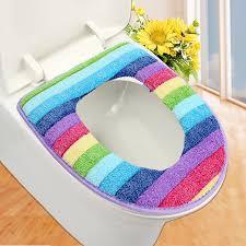 couvre siege wc salle de bains de toilette coloré ensemble couvercle wc housse de