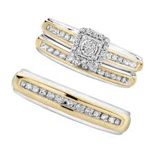 trio wedding sets two tone square diamond trio set item 19379106trio reeds jewelers