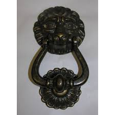 home decor home furniture diy rustic door knocker with tapping plate lion burnished brass nostalgia pur