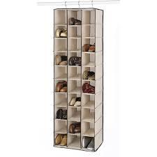whitmor 30 section hanging shoe shelves tan espresso walmart com