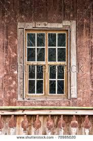 wood window on concrete wall stock photo 105107414