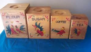 wooden canisters kitchen vintage rooster wooden canister set flour sugar coffee and