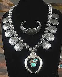 silver necklace bracelet set images Item 839e xlg heavy vintage taos coin squash necklace w JPG