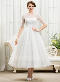 a line princess scoop neck tea length tulle lace wedding dress