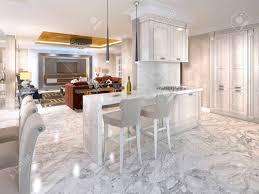 cuisine avec bar comptoir bar comptoir avec chaises de bar dans la cuisine de luxe dans le
