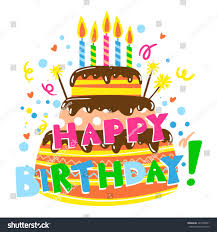happy birthday card cake candles birthday stock vector 427008031