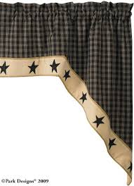 Lined Swag Curtains Primitive Decor Black Star Curtains Country U0026 Primitive Swag