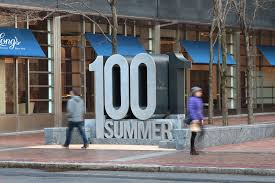 monument signage at 100 summer street in boston with perforated