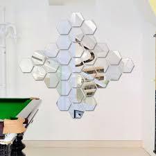 art home decor dimensional hexagonal 7 piece wall decoration acrylic mirrored