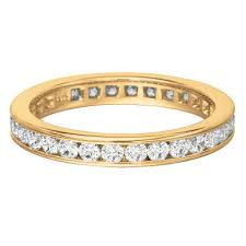 band gold channel set diamond eternity band in yellow gold 3 5mm i si2