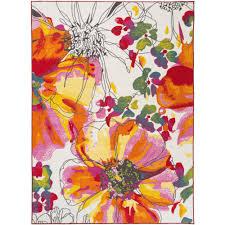Flower Area Rug Modern Bright Flowers Non Slip Non Skid Multi Area Rug 5 Ft 3