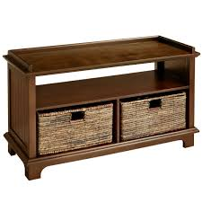 holtom chestnut brown storage bench with baskets pier 1 imports