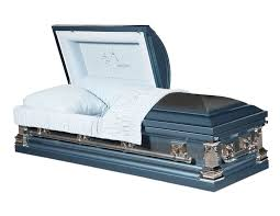 blue casket going home monarch blue finish with light blue interior