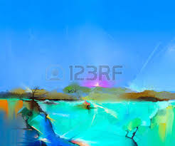 oil painting landscape colorful autumn trees semi abstract