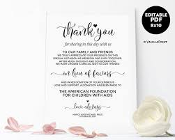 wedding signs template in lieu of favors sign wedding donation sign wedding donation