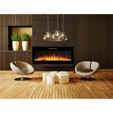 Electric Wallmount Fireplace Elite Flame 60 Inch Fusion Pebbles Built In Smokeless Wall Mounted