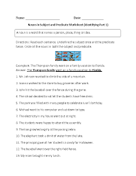 nouns in subject and predicate worksheet englishlinx com board