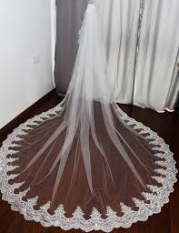 wholesale 3 meter white ivory cathedral wedding veils long lace