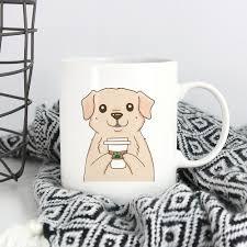 yellow labrador retriever drink coffee cool mug dog funny coffee