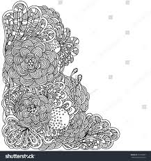 floral doodle black white pattern vector stock vector 312758957