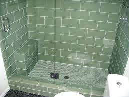 Shower Floor Mosaic Tiles by Pebble Stone Shower Floor With Subway Tile And Glass Doorsshower