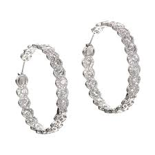 diamond earrings on sale cut diamond hoop earrings for sale at 1stdibs