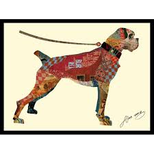 boxer dog wall art empire art direct boxer dog dimensional collage hand signed by