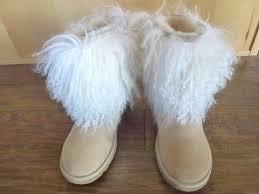 ugg mongolian sheepskin cuff boots tan 9 mercari the selling app