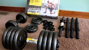 unboxing of golds gym 40 lbs ddjustable cast dumbbell set youtube