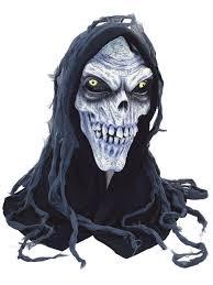 hooded zombie corpse ghoul skull skeleton halloween rubber mask