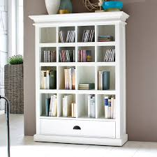halifax white mahogany bookcase with drawer dcg stores