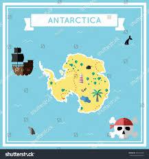 Map Of Antarctica Antarctica Flat Treasure Map Colorful Cartoon Stock Vector