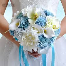artificial wedding bouquets 2018 light blue bridal bouquets wedding bouquets for brides buque