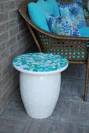 Diy Mosaic Table Diy Mosaic Sea Glass Table Top Just Judy Diy Ideas Pinterest