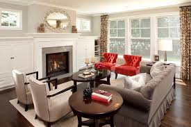 living room with red accents traditional chic