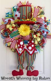 circus clown deco mesh wreath with clown legs top hat light up