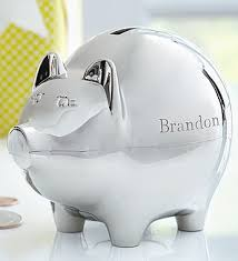 personalized silver piggy bank personalized piggy bank 1800flowers 139255