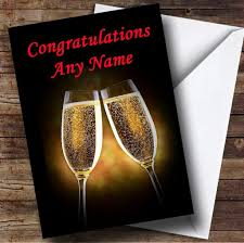 chagne glasses personalised congratulations card the card zoo