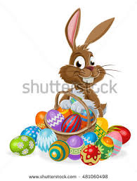 bunny easter easter bunny rabbit character holding stock vector