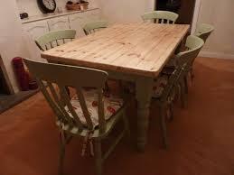 Pine Farmhouse Kitchen Table With  ChairsPainted Vintage - Pine kitchen tables and chairs