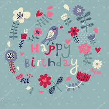 beautiful happy birthday greeting card with flowers and bird