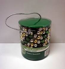 wholesale 9 foot green led lit bead garland